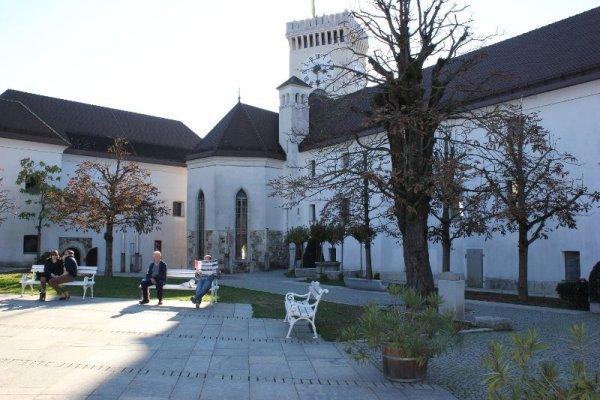 Il cortile interno del castello di Lubiana