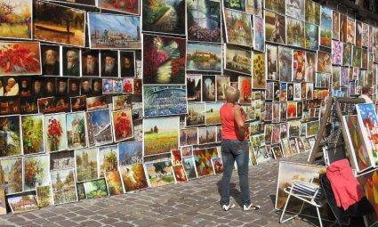 Quadri sulle mura Cracovia