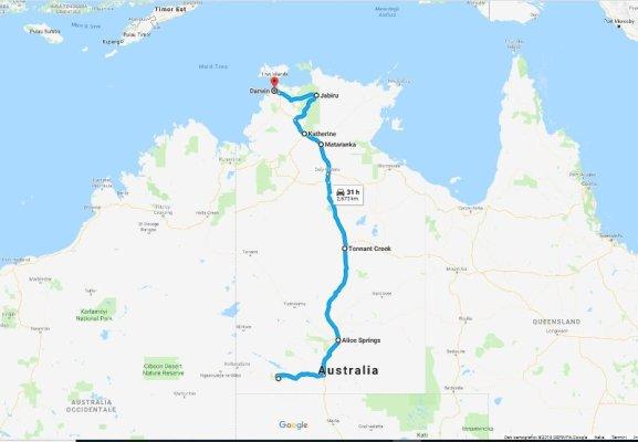 Mappa itinerario on the road Australia