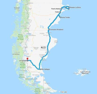 Mappa itinerario di viaggio Patagonia