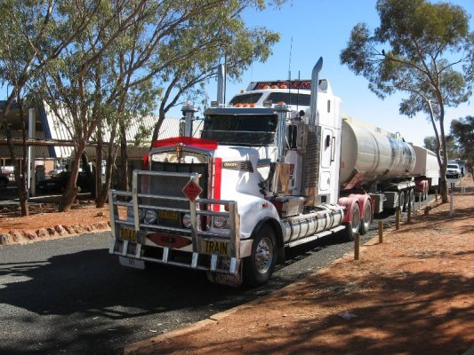 Road train Desert Oaks Motel Erldunda Australia