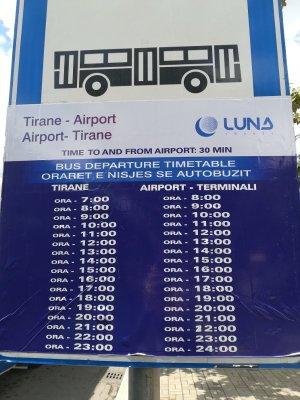 Orario bus aeroporto Tirana