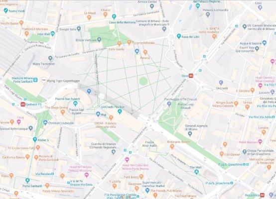 Mappa area Porta Nuova a Milano