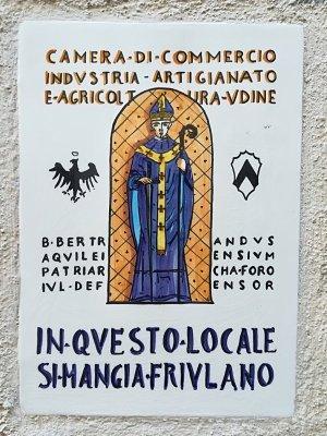 Targa all'ingresso della osteria Al Vecchio Stallo di Udine