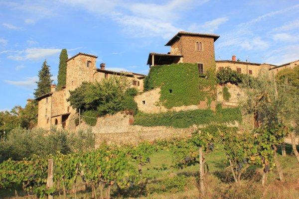 Panorama di Montefioralle borgo del Chianti in Toscana