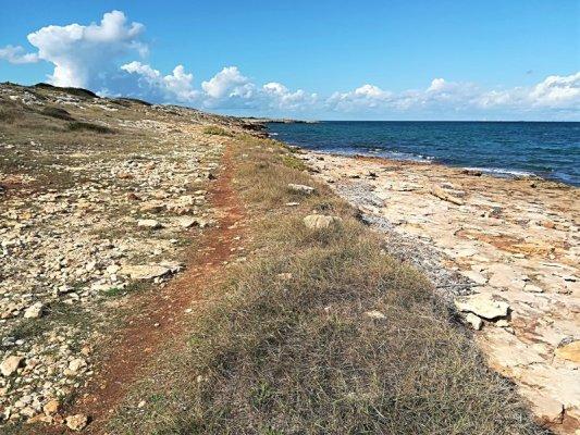 Un sentiero sul litorale di Punta Pizzo in Salento