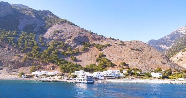 Panorama del villaggio di Agiá Rouméli a Creta