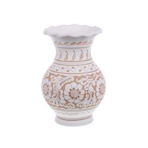 Vaza de ceramica alba de Corund 22 cm Model 2
