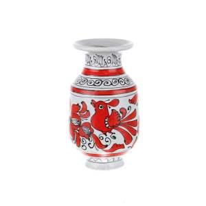 Vaza ceramica rosie de Corund nesmaltuita 17 cm