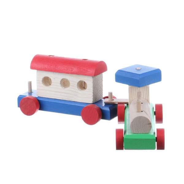 Jucarie din lemn colorat trenulet cu un singur vagon
