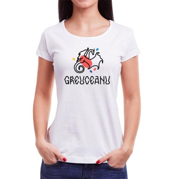 Tricou femei Greuceanu Învie Tradiția alb/negru