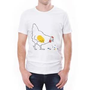 Tricou bărbați Găina Învie Tradiția alb/negru