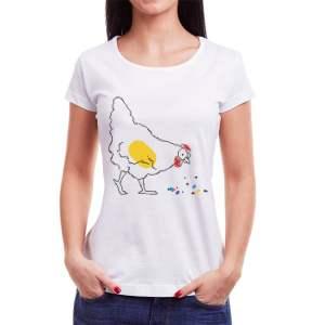 Tricou femei Găina Învie Tradiția alb/negru