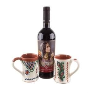 Pachet cadou căni de vin ceramică Bledea și vin fetească neagră ediție limitată România