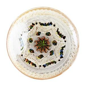 Farfurie Ceramica Horezu Model Floral Portocaliu Verde 26 cm - Diverse modele