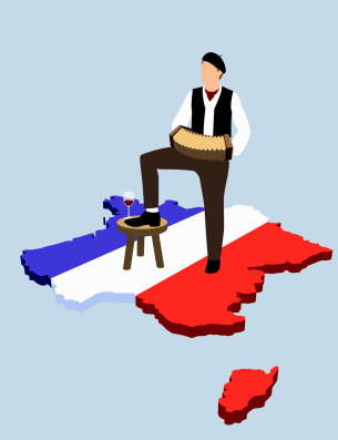 Stereotypical French man standing on French flag in the shape of France