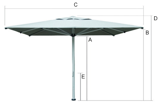 Shadowspec Commercial Centre Pole Umbrellas Dimensions