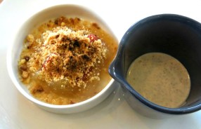 Apple and Quince crumble with cinnamon custard