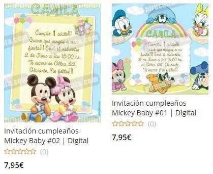 Invitaciones de primer cumpleaños Mickey Baby Premium