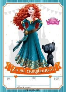 Invitación de cumpleaños de Mérida de Brave Princesa Disney GRATIS