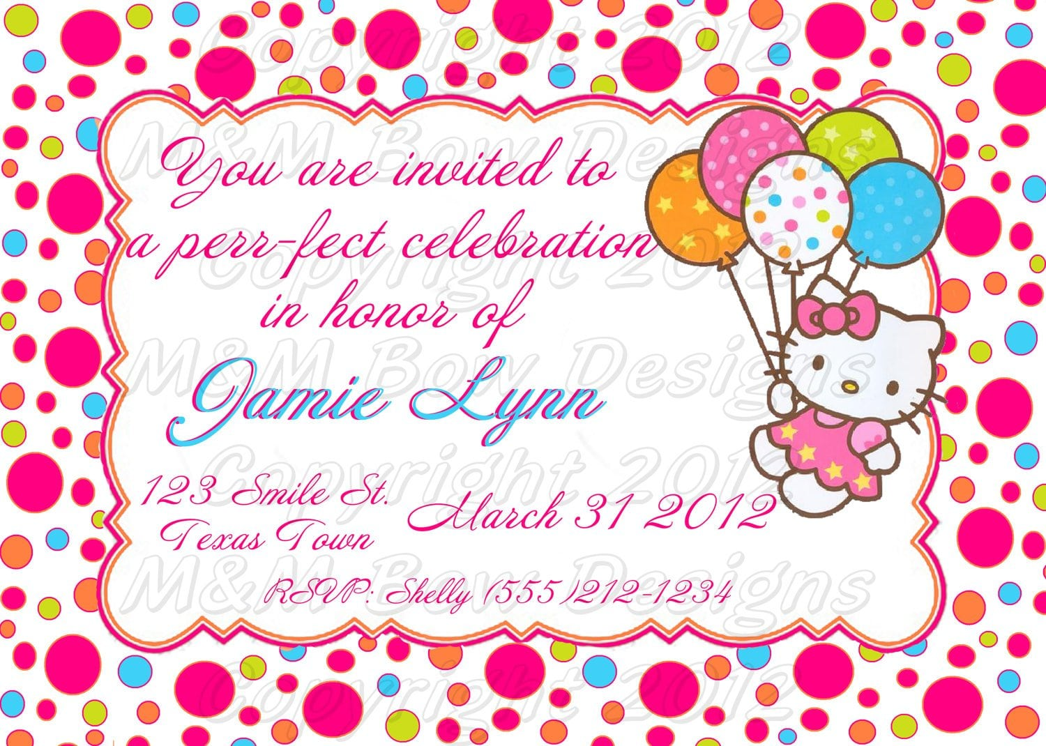 hello kitty birthday invitation printables