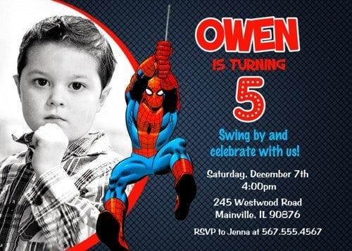 free printable spiderman invitations