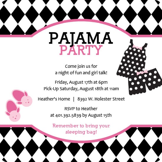 slumber party invite free printables