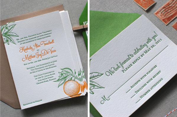 Classic Florida Inspired Citrus Wedding Invitations