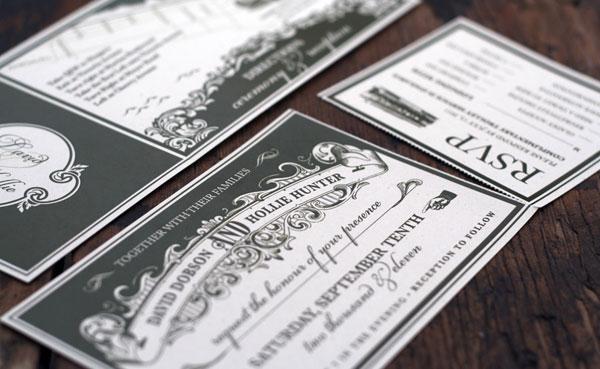 Vine Ticket Wedding Invitations