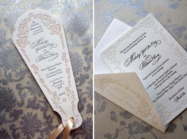 Ornate Letterpress Wedding Program Fans