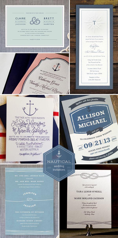 Nautical Wedding Invitations Blue Striped
