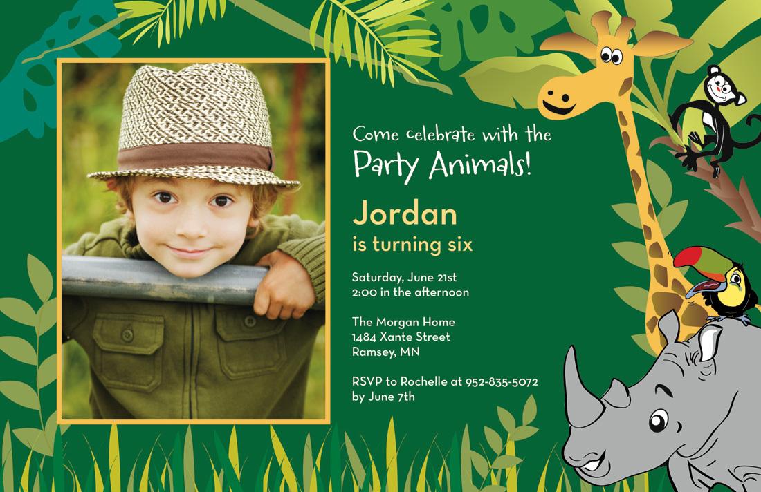 jungle animals forest green birthday