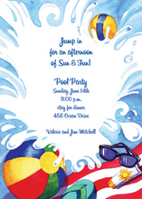 blue water slide birthday party invitations