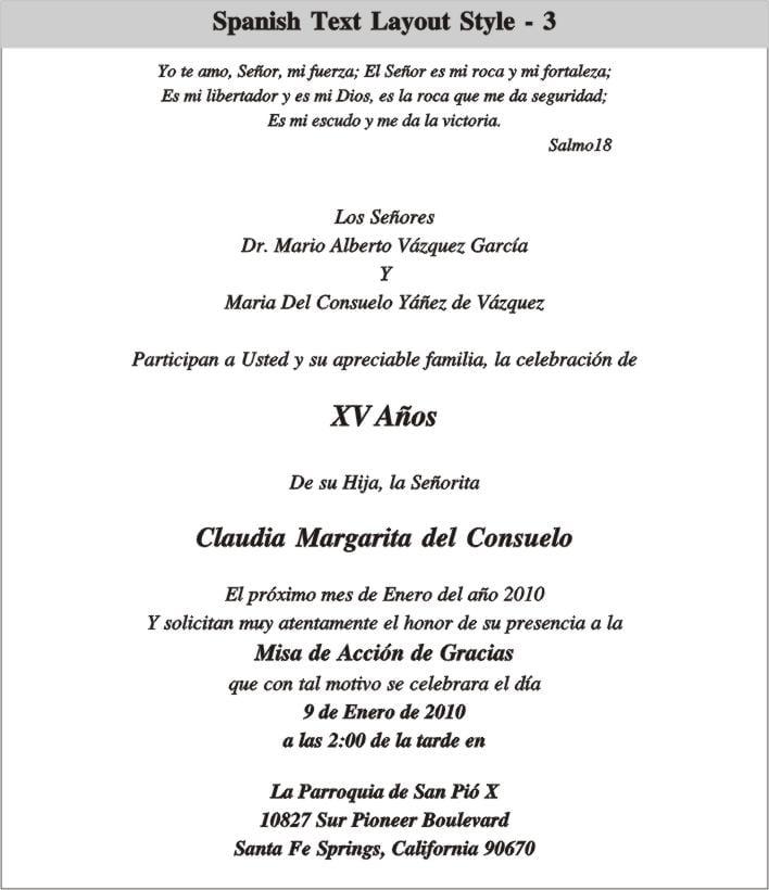 Spanish Language Wedding Invitation Text