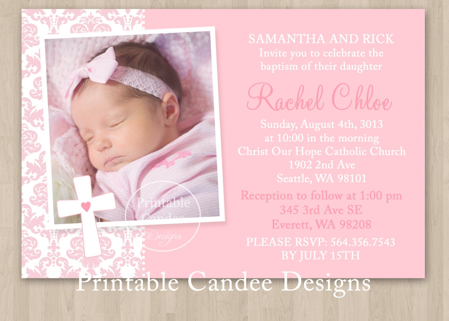 Invitation Card Maker Christening And Birthday