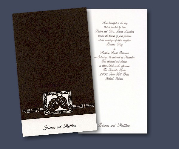 This Top Fold Chocolate Colored Invitation Wrap With An Ecru Would Be So Lovely For Autumn Wedding