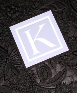 Kimberly Wedding Invitation | embossed paper band wrap, black, periwinkle, blue, purple, monogram
