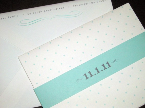 William IV Baby Announcement. Blue and white polka dot birth announcement card with photo and belly band. Typography based design. Tri-Fold Layout.