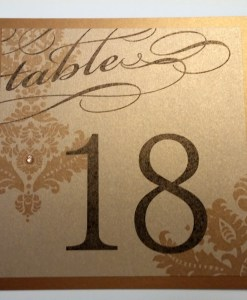 Gold Wedding Table Number | gold damask with rhinestone
