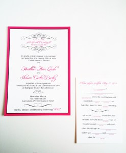 Wedding Mad Libs Invitation Suite | hot pink, fuchsia border, black flourishes, custom map card