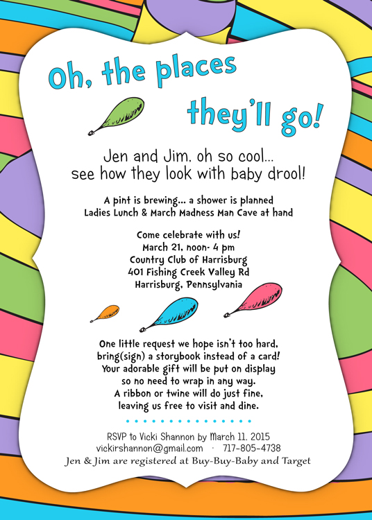 Dr Seuss Baby Shower Invitation | brightly colored, balloons