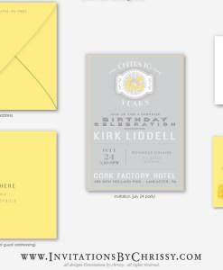 Yellow Birthday Invitation | grey background
