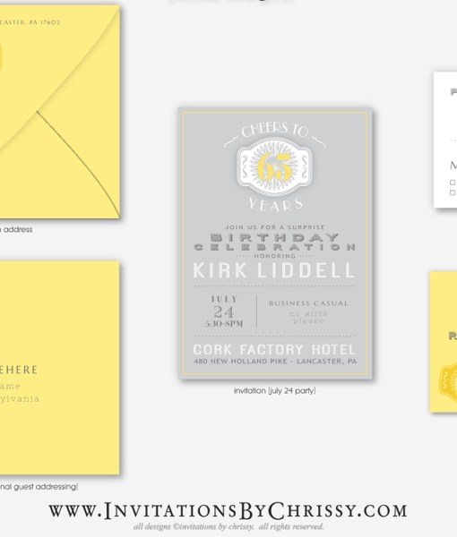 Yellow Birthday Invitation | grey background