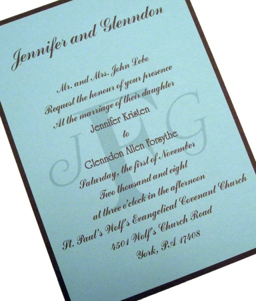 Monogram Wedding Invitation | blue and brown modern