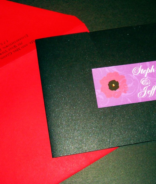 Pop Art Wedding Invitation | pop art, metallic black pocket fold card, red, purple flowers, gold swarovski crystal rhinestones,