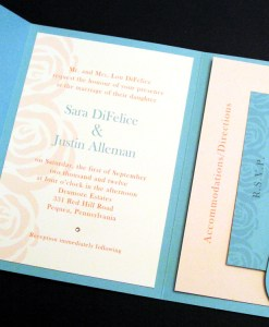 Sara Wedding Invitation | roses invitation designs, peach, tiffany blue, aqua, swarovski crystal rhinestone, pocket fold card