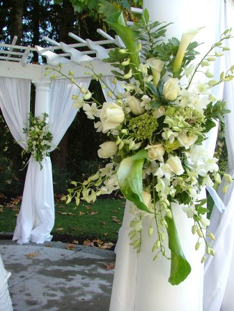 White and green floral spray wedding decor
