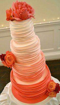 ombre orange wedding cake with flowers
