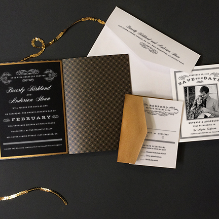 scrolls-and-stripes-wedding-invitation gold white ink printing