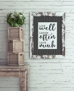 black and white chevron, zig zag, herringbone pattern art print live well, laugh often, love much